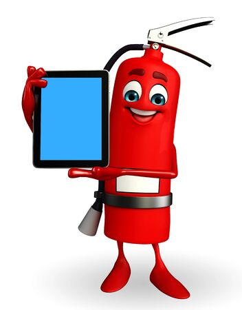 inflammable: Cartoon Character of fire extinguisher with tab