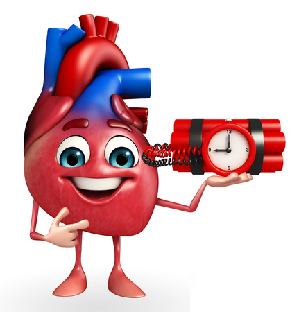 Cartoon Character of heart with time bomb photo