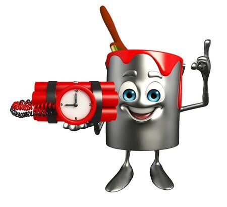 Cartoon Character of paint bucket with Bomb photo