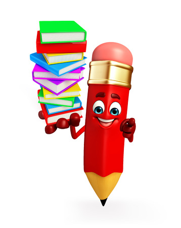 eraser mark: Cartoon Character of pencil with Books pile