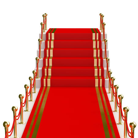 Red carpet to the stairs lined with gold stanchions  photo