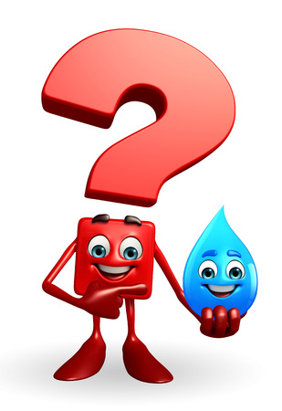 Cartoon Character of Question Mark with water drope photo