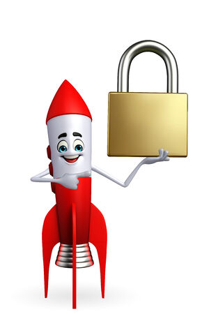 Cartoon character of rocket with lock photo
