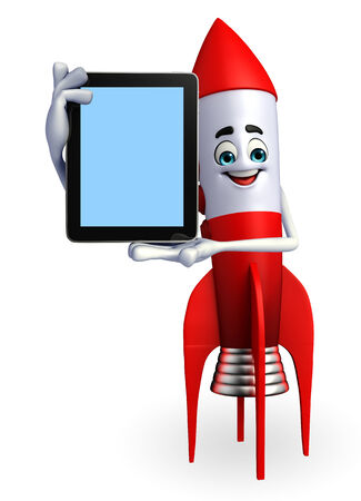 Cartoon character of rocket with tab photo