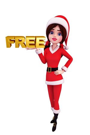 christmas profits: Illustration of santa girl with free sign