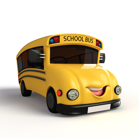 Cartoon Character of school van with  photo