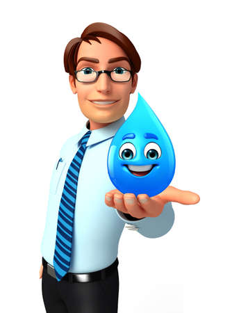 service man: Illustration of service man with water drop
