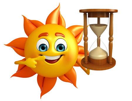 sand clock: Cartoni animati di sole con l'orologio della sabbia Archivio Fotografico