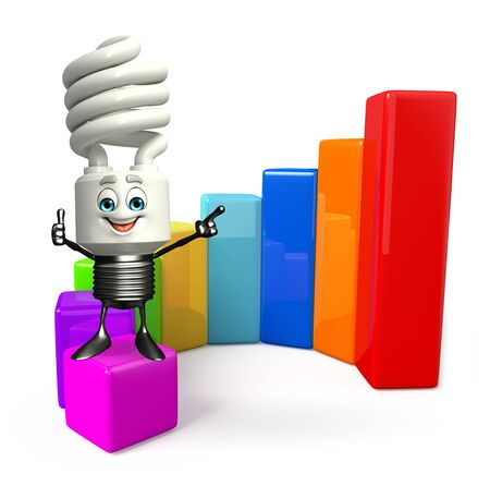 fuze: Cartoon Character of CFL with business graph Stock Photo