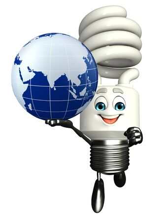 cfl: Cartoon Character of CFL with globe