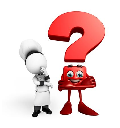 Illustration of white character as a chef with question mark illustration