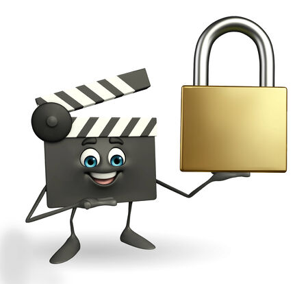 episode: Cartoon Character of Clapper Board with lock Stock Photo