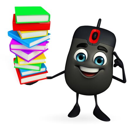 Cartoon Character of Computer Mouse with Books pile photo