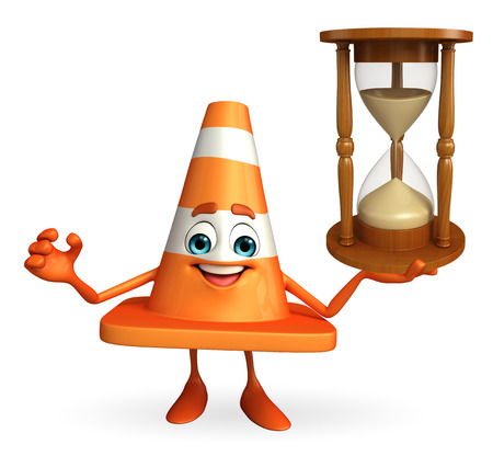 road works ahead: Cartoon Character of Construction cone with sand clock