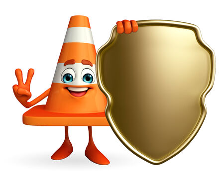 road works ahead: Cartoon Character of Construction cone with shield