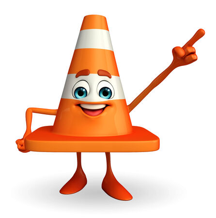 Cartoon Character of Construction cone with pointing pose