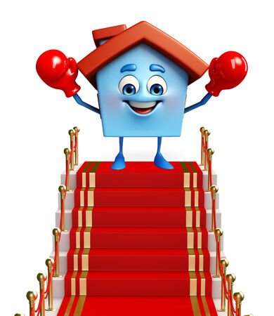 Cartoon Charcter of house with red carpet Stock Photo