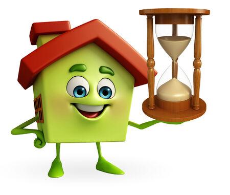 sand clock: Cartoon Charcter di casa con l'orologio della sabbia