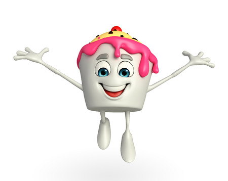 Cartoon Character of Ice Cream is jumping  photo