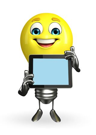 Cartoon Character of light bulb with tab