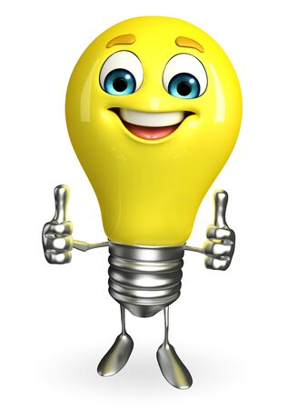 Cartoon Character of light bulb with best sign