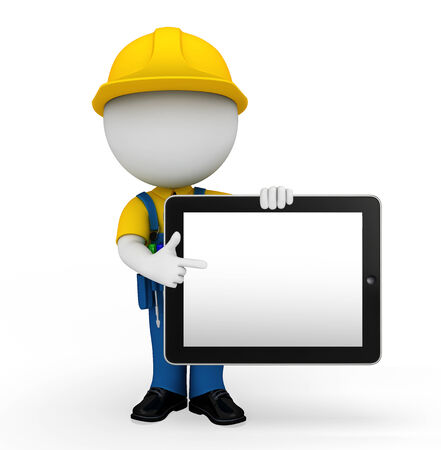 Illustration of white character as a mechanic with tab Stock Photo