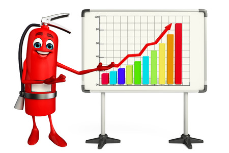 disaster prevention: Cartoon Character of fire extinguisher with business graph