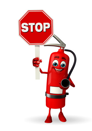 firefighting: Cartoon Character of fire extinguisher with stop sign