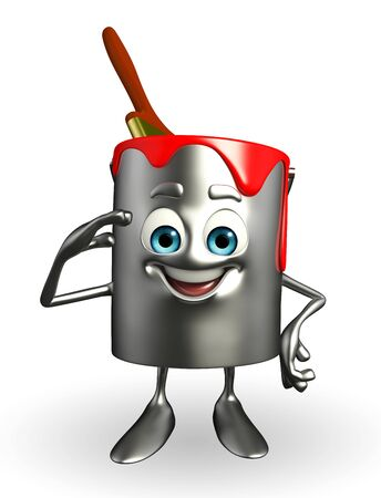 Cartoon Character of paint bucket with Salute pose photo