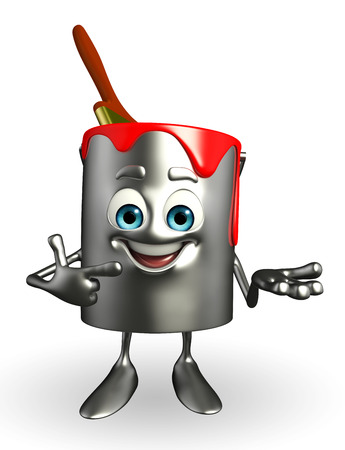 Cartoon Character of paint bucket is presenting  photo