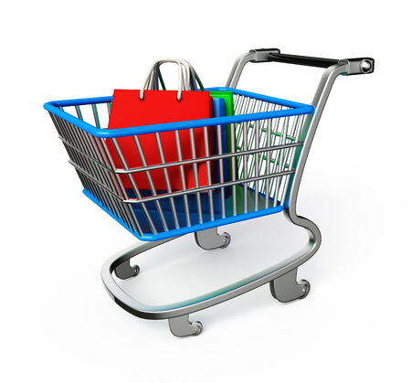 Illustration of shopping bags and trolley illustration