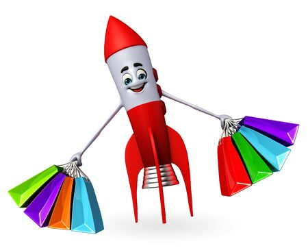 Cartoon character of rocket with shopping bags photo