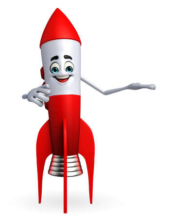 Cartoon character of rocket with holding pose photo