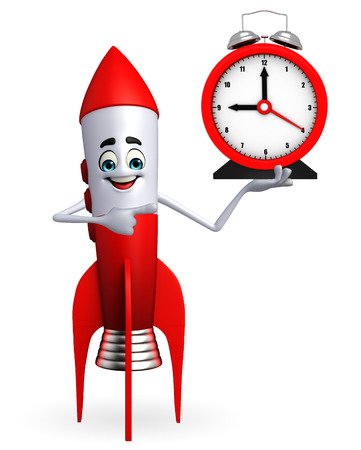 Cartoon character of rocket with table clock photo