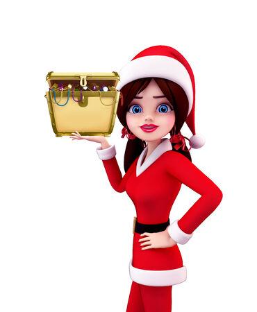 Illustration of santa girl with treasure box illustration