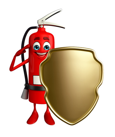 Cartoon Character of fire extinguisher with shield