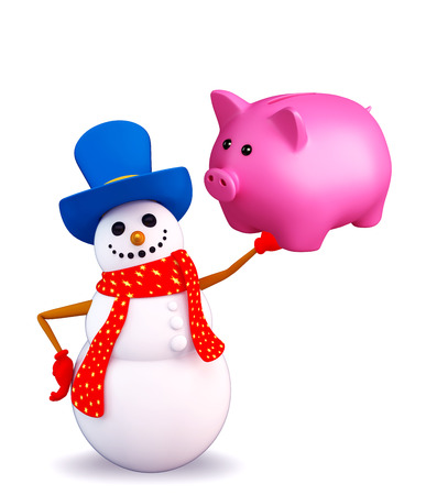 deposite: Illustration of snowman character with piggy bank Stock Photo