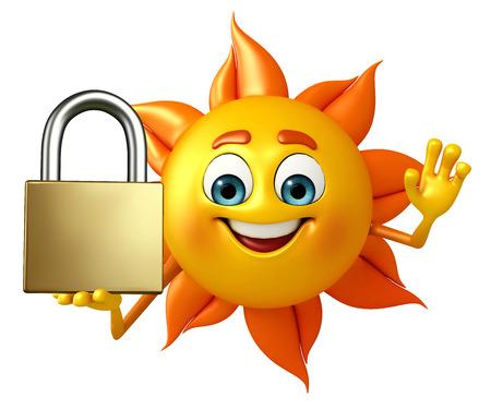 Cartoon Character of sun with lock photo