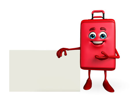 Cartoon Character of Travelling Bag with sign photo