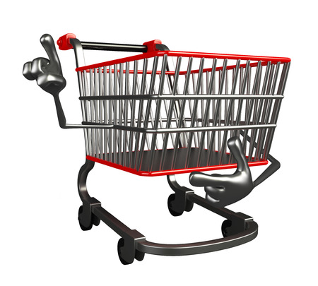trolly: The cartoon charecter of trolly is pointing Stock Photo