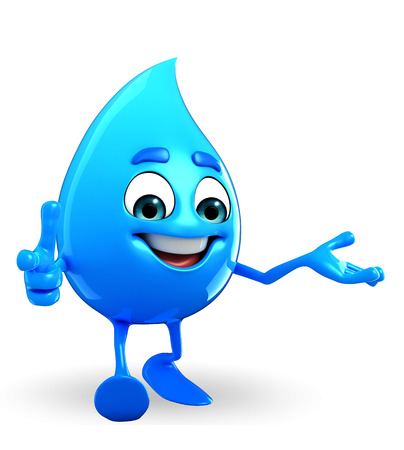 Cartoon Character Of Water Drop is pointing