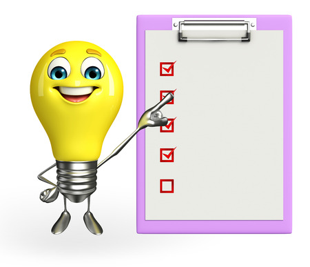 Cartoon Character of light bulb with notepad