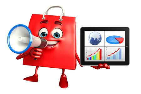 achivement: Cartoon Character of shopping bag with business graph Stock Photo