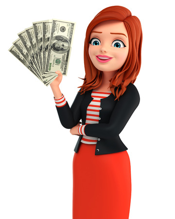 Illustration of corporate lady with dollars illustration