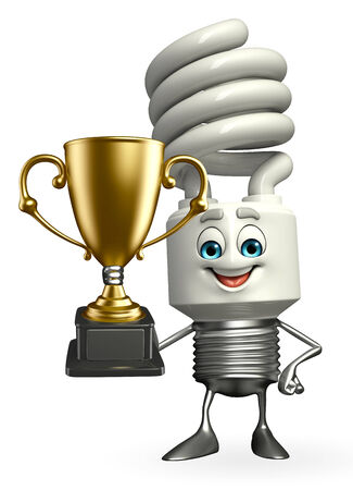 Cartoon Character of CFL with trophy photo