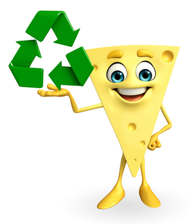 Cartoon Character of Cheese with recycle icon photo