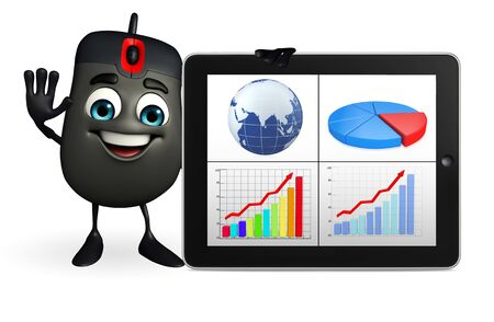 input device: Cartoon Character of Computer Mouse with Business graph