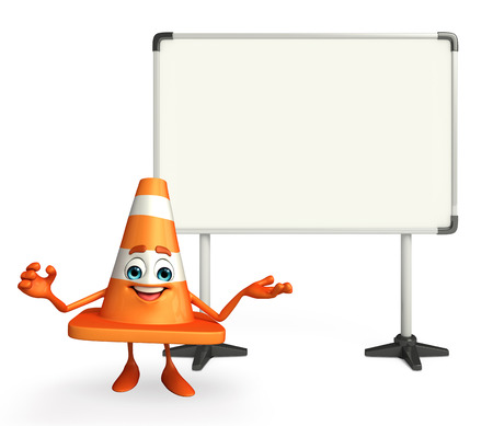 road works ahead: Cartoon Character of Construction cone with display board Stock Photo