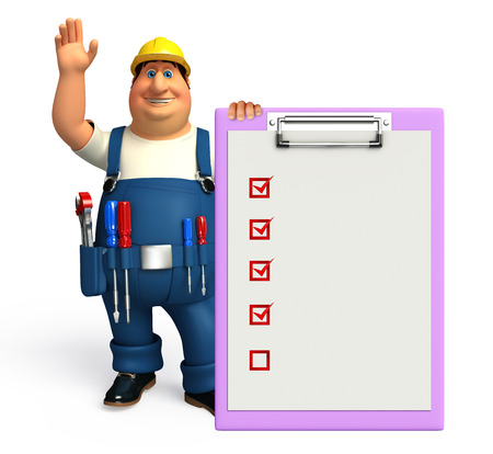 adjustable: Illustration of young plumber with notepad