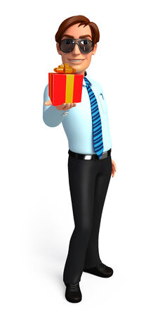 service man: Illustration of service man with gift box
